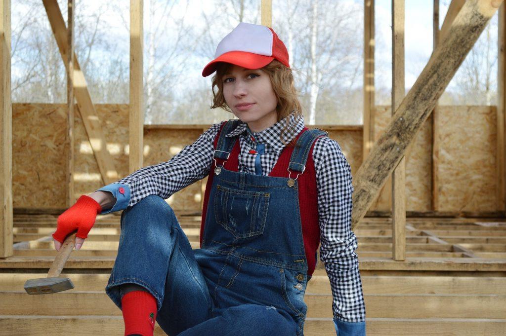 hammer, tools, girl